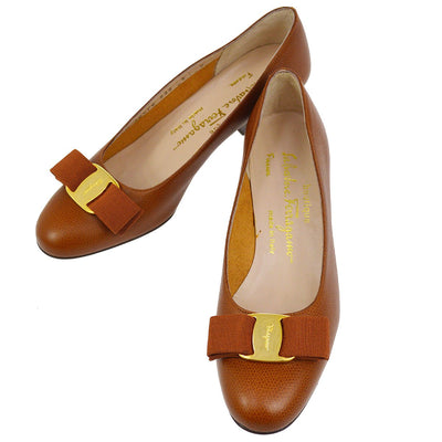 Salvatore Ferragamo Vara Bow Shoes Pumps Brown Leather #5 C