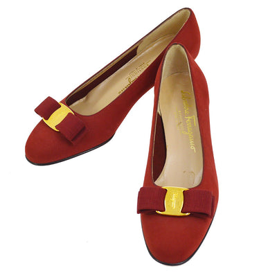 Salvatore Ferragamo Vara Bow Shoes Pumps Red Nubuck #6 C