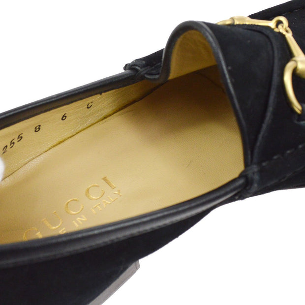 GUCCI Horsebit Shoes Loafers Black Suede Leather #6 C