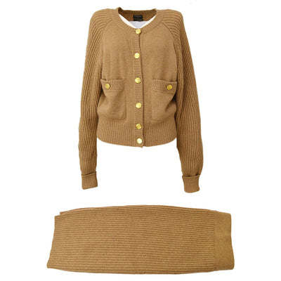 CHANEL Long Sleeve Set Up Cardigan Jacket Skirt Brown