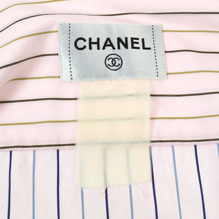 CHANEL Front Opening Stripe Long Sleeve Shirts Brown Pink Cotton