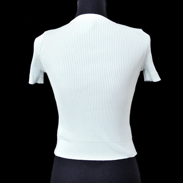 CHANEL #42 CC Round Neck Short Sleeve Knit Tops Light Blue 96P