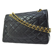 CHANEL Paris Limited Quilted Double Flap Chain Shoulder Bag Black