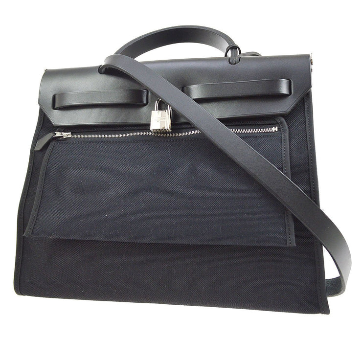 HERMES HERBAG ZIP 31 2 in 1 2way Hand Bag Black Toile Militaire