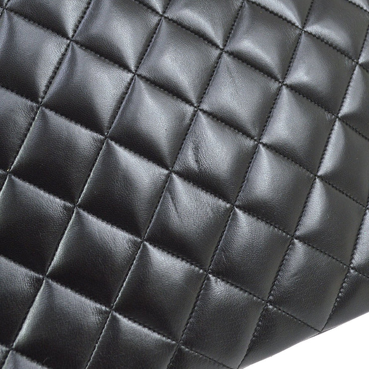 CHANEL Quilted CC Double Chain Shoulder Tote Bag Black