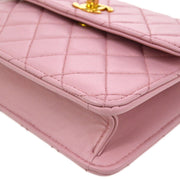 CHANEL Quilted CC Single Chain Mini Shoulder Bag Pink