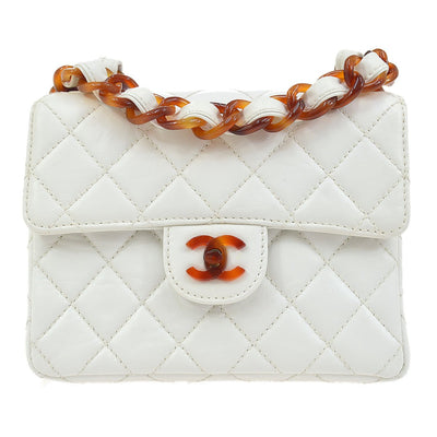 CHANEL Quilted CC Tortoiseshell Plastic Chain Shoulder Bag White