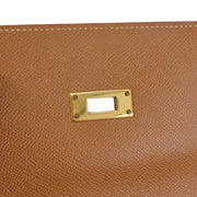 HERMES KELLY DEPECHE 38 Business Bag Brown Veau Greine Couchevel