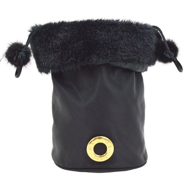 CELINE Logos Drawstring Cosmetic Pouch Bag Black Fur