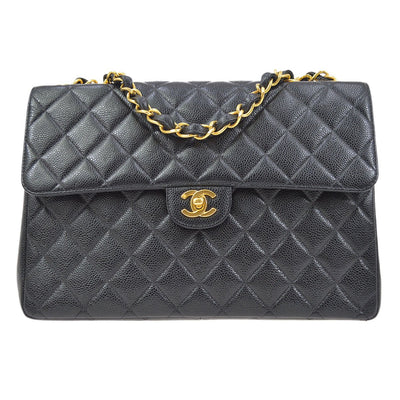 CHANEL Classic Flap Jumbo Double Chain Shoulder Bag Black Caviar Skin