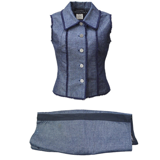 CHANEL #36 CC Setup Suit Sleeveless Jacket Vest Half Pants Blue