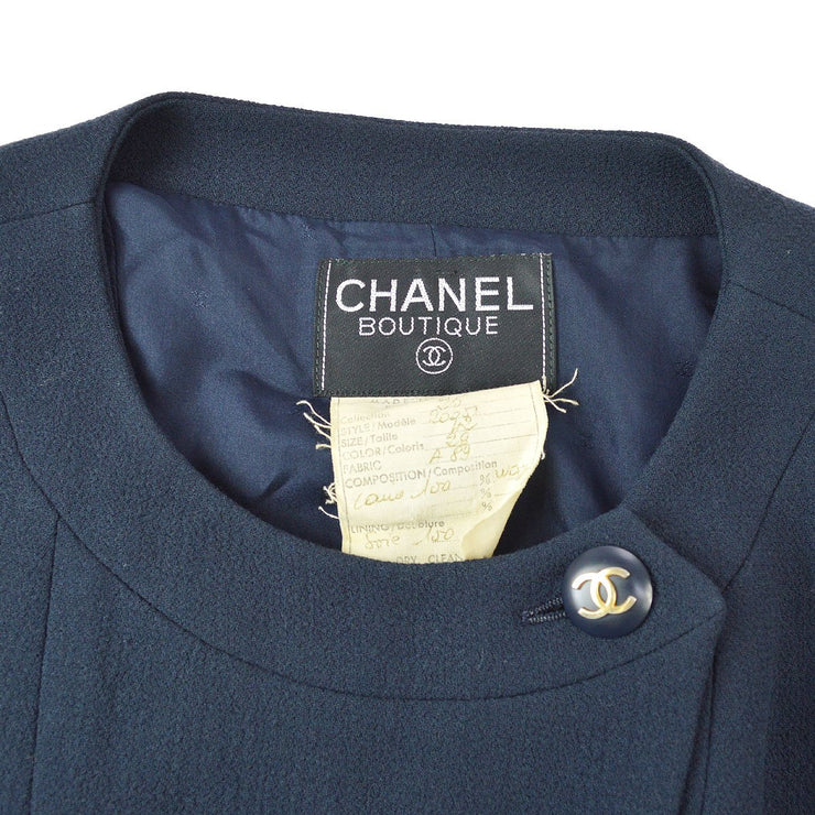CHANEL #42 Double Breasted Long Sleeve Set Up Suit Jacket Skirt Navy