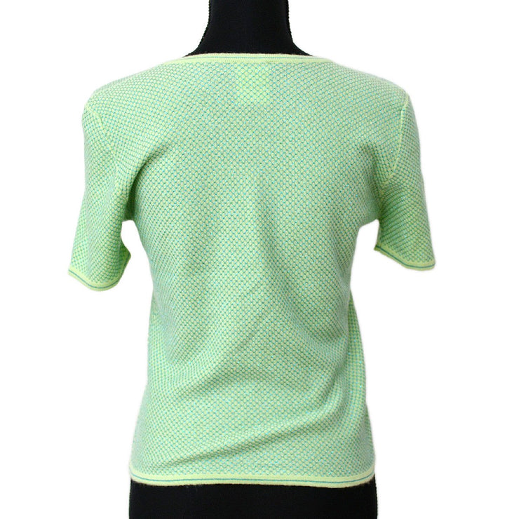 CHANEL #42 CC Round Neck Short Sleeve Knit Tops Green 01C
