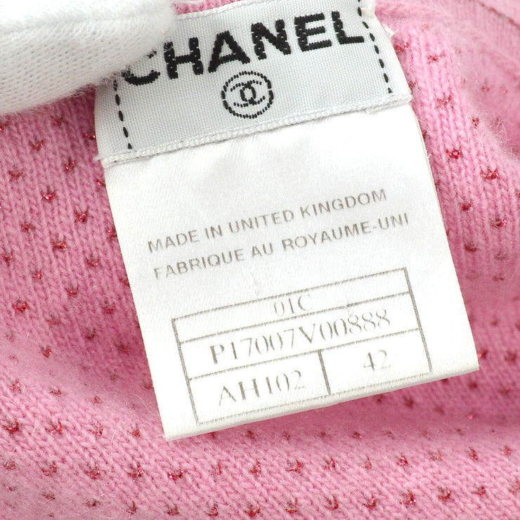 CHANEL #42 CC Round Neck Short Sleeve Knit Tops Pink 01C