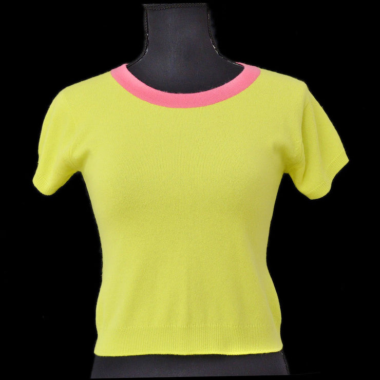 CHANEL #38 CC Round Neck Short Sleeve Knit Tops Light Green