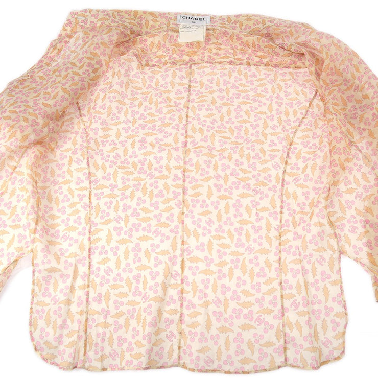 CHANEL #38 Front Opening CC Logos Button Long Sleeve Shirts Beige 04P