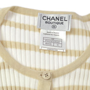 CHANEL #42 CC Border Short Sleeve Knit Tops White Beige