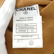 CHANEL #42 Cowl Neck Long Sleeve Knit Tops Shirt Brown