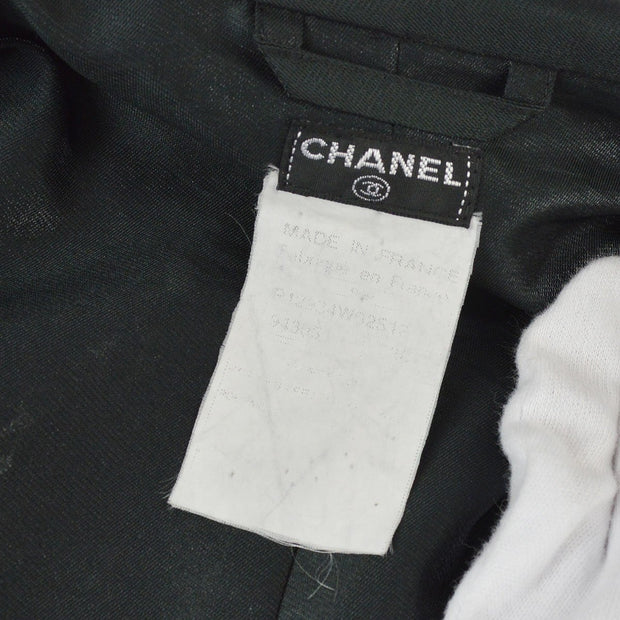 CHANEL CC Zip Up Long Sleeve Jacket Coats Metallic Black
