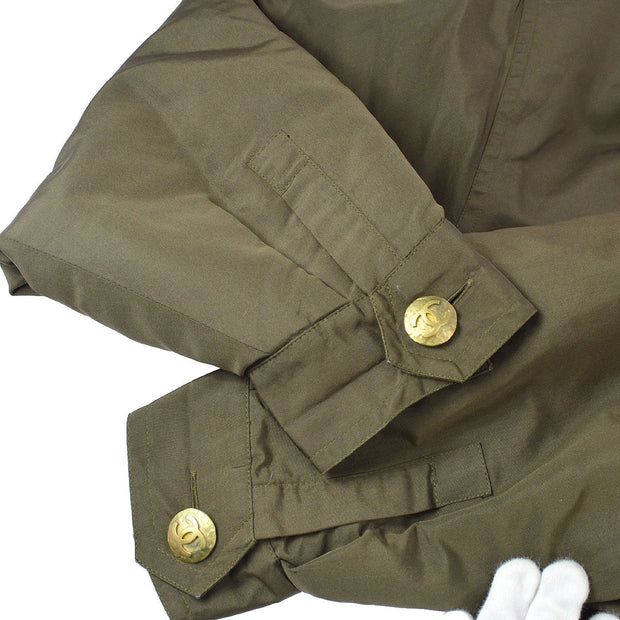 CHANEL #36 CC Zip Up Long Sleeve Jacket Khaki