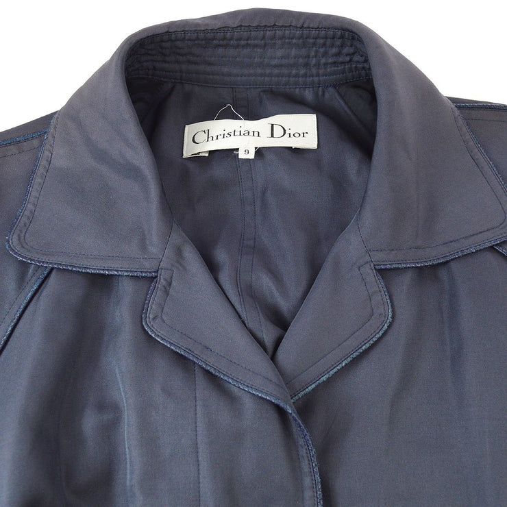Christian Dior #9 Long Sleeve Single Breasted Coats Navy