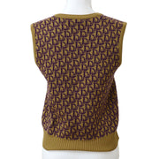 Christian Dior Trotter Sleeveless Vest Tops Brown Purple #M