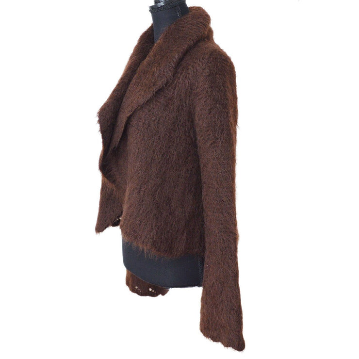 HERMES Long Sleeve Coat Jacket Brown #SM Mohair