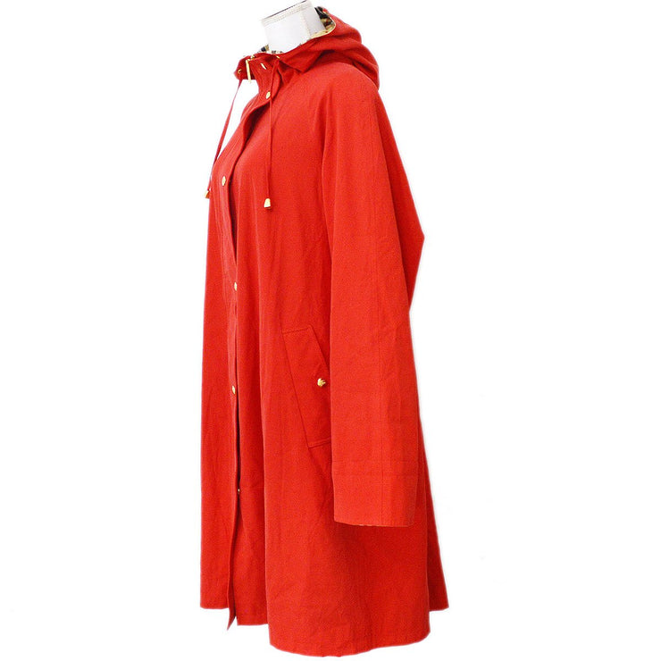 Burberry's Long Sleeve Zip Up Coat Jacket With Hood Red #15