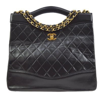 CHANEL Quilted CC 2way Hand Bag Chain Shoulder Black