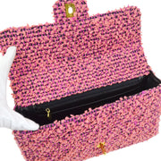 CHANEL Quilted CC Logos Hand Bag Pink Black Tweed