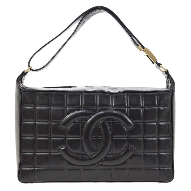 CHANEL Choco Bar Quilted CC Shoulder Bag Black
