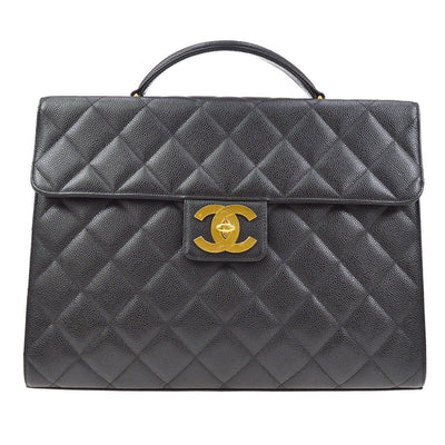 CHANEL Quilted CC Briefcase Business Hand Bag Black Caviar
