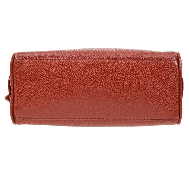 CHANEL CC Cosmetic Vanity Hand Bag Pouch Red Caviar Skin