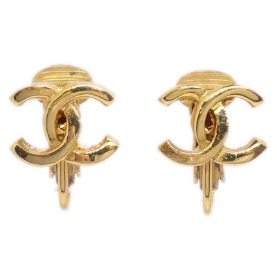 CHANEL CC Logos Charm Earrings Clip-On Gold