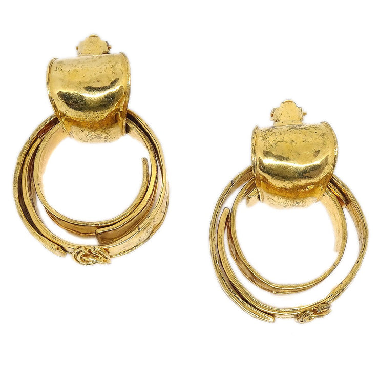 CHANEL CC Logos Shaking Double Hoop Earrings Clip-On Gold