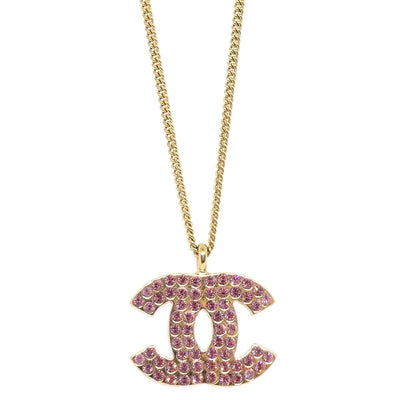 CHANEL CC Logos Rhinestone Gold Chain Pendant Necklace