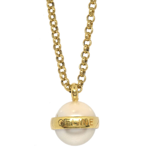 CELINE Logos Imitation Pearl Gold Chain Pendant Necklace