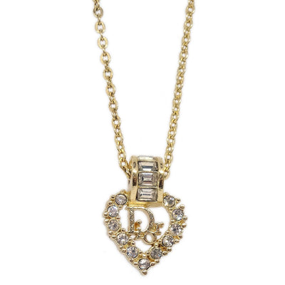 Christian Dior CD Logos Heart Rhinestone Gold Chain Pendant Necklace