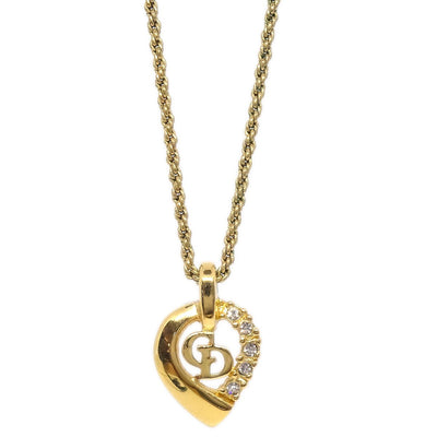 Christian Dior CD Logos Rhinestone Gold Chain Pendant Necklace