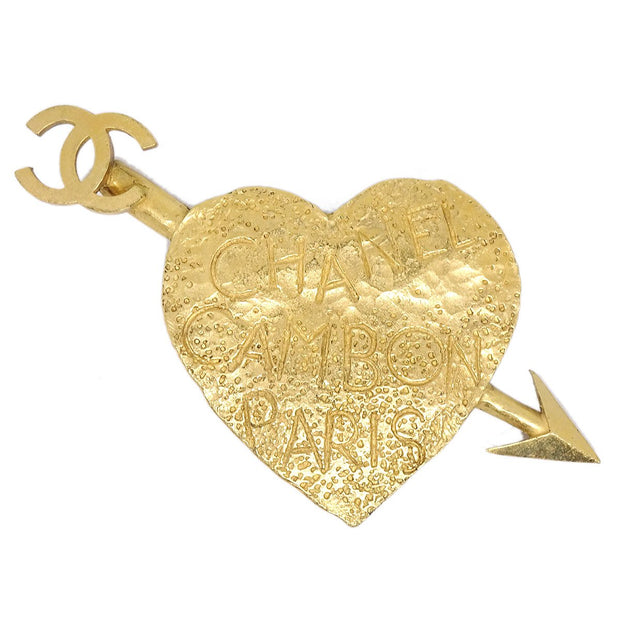 CHANEL CC Logos Heart Bow And Arrow Motif Brooch Gold Corsage 93A