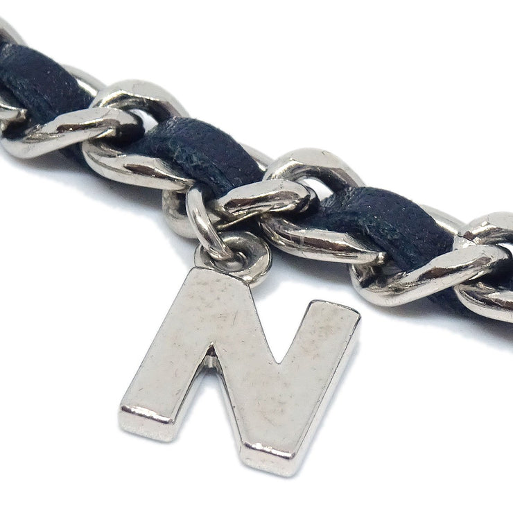 CHANEL CC Logos Charm Silver Chain Belt Black Leather