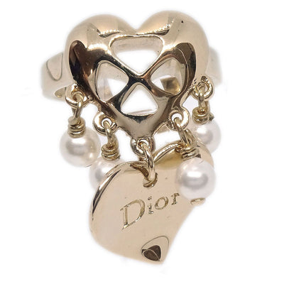Christian Dior Heart Motif Imitation Pearl Ring Size 4.5 Gold