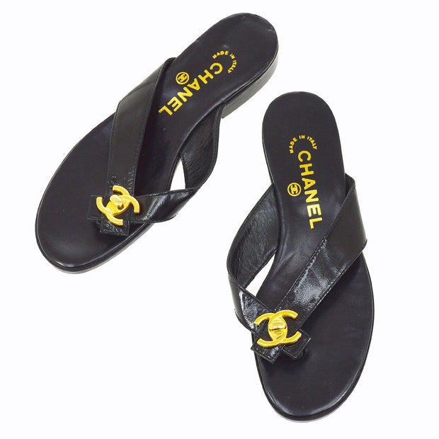 CHANEL CC Turnlock Motif Shoes Sandals Black #37