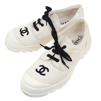 CHANEL CC Logos Sneakers Shoes White 39
