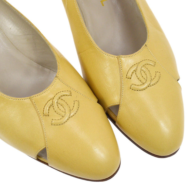 CHANEL CC Logos Pumps Shoes Beige #36 1/2