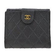 CHANEL CC Cosmos Line Quilted Bifold Wallet Black Caviar