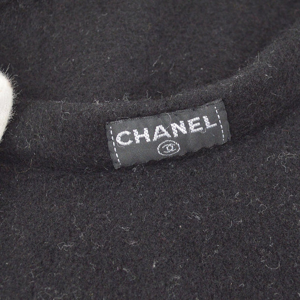 CHANEL CC One Point Logos Hat Beret Black