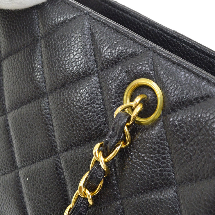 CHANEL Quilted CC Chain Shoulder Tote Bag Black Caviar Skin