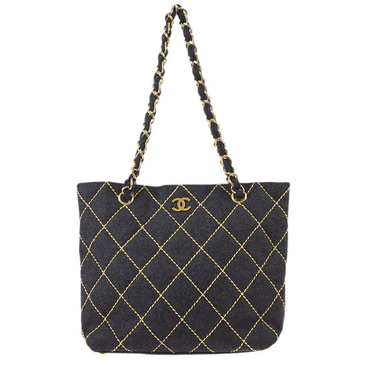 CHANEL Wild Stitch Quilted CC Chain Shoulder Tote Bag Gray Wool