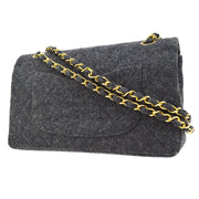 CHANEL Classic Double Flap Medium Chain Shoulder Bag Gray Wool